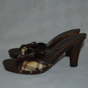 Sz 37 Burberry Brown Nova Check Bow Slides Heels